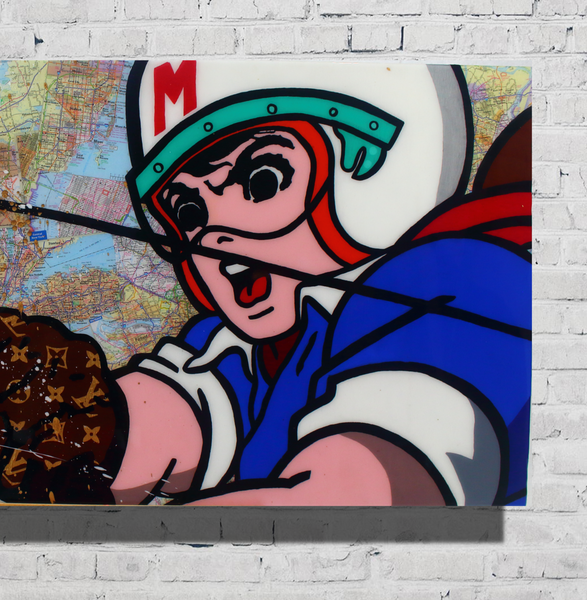 Speed Racer Cartoon Collage Artwork x Luxury Wall Art x 24 x 48 inch Acrylic Paint on Wood