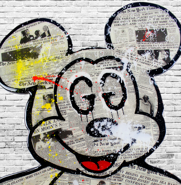 Mickey Mouse Epoxy Resin Wall Art x Cartoon Art Home Decor x Gucci Mouse x New York Times Collage Art