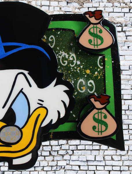 Scrooge McDuck painting x resin artwork acrylic on wood cutout x art resin