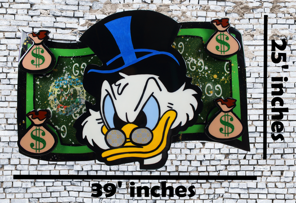 Scrooge McDuck Cartoon Pop Art Dollar Bill - Epoxy Resin home decor wall art