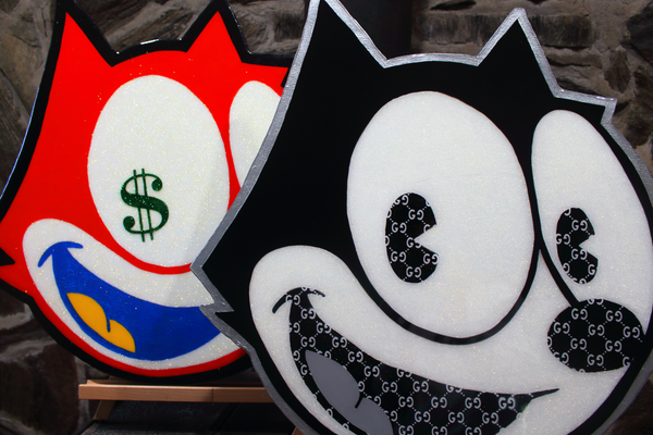 Felix the Cat Retro Cartoon Art x Acrylic Paint on Wood Cutout x Resin Wall Art Home Decor