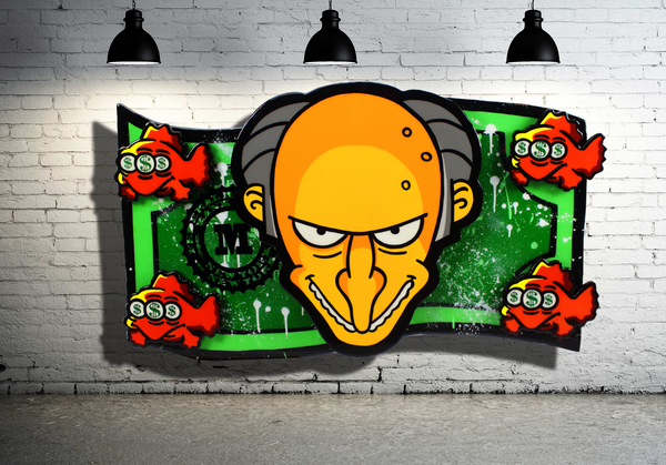 Mr. Burns Money x Cartoon Character Art x Epoxy Resin Wall Art Home Decor