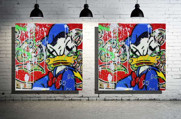 Donald X Cartoon Art Painting x Acrylic Paint on Wood w/ Epoxy Resin Finish x 24 inches by 24 inches