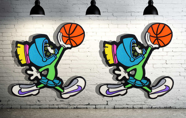 space jam marvin the martian cartoon painting , marvin dunking the ball