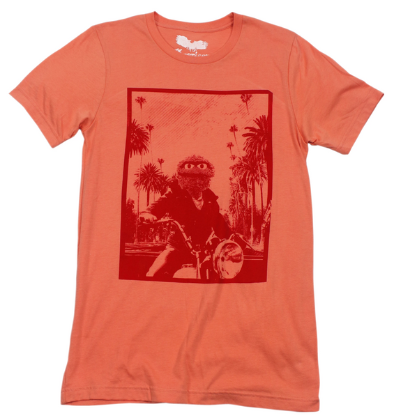 oscar the grouch tee shirt , james dean picture , riding a motorcycle