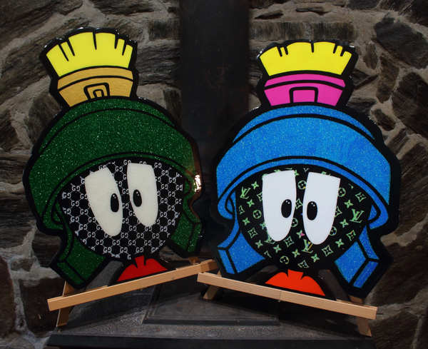 Epoxy Resin Wall Art x Marvin The Martian Cartoon Art  Home Decor x Wood Cutout Artwork