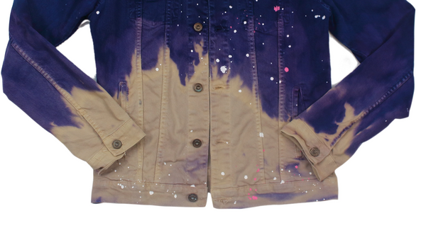 Purple Garden Denim Trucker Jacket x Bleached x Splattered Customized Jean Jacket