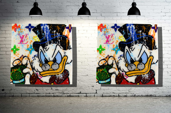 Scrooge Cartoon Character Wall Art x Epoxy Resin Artwork x Acrylic Paint on Wood