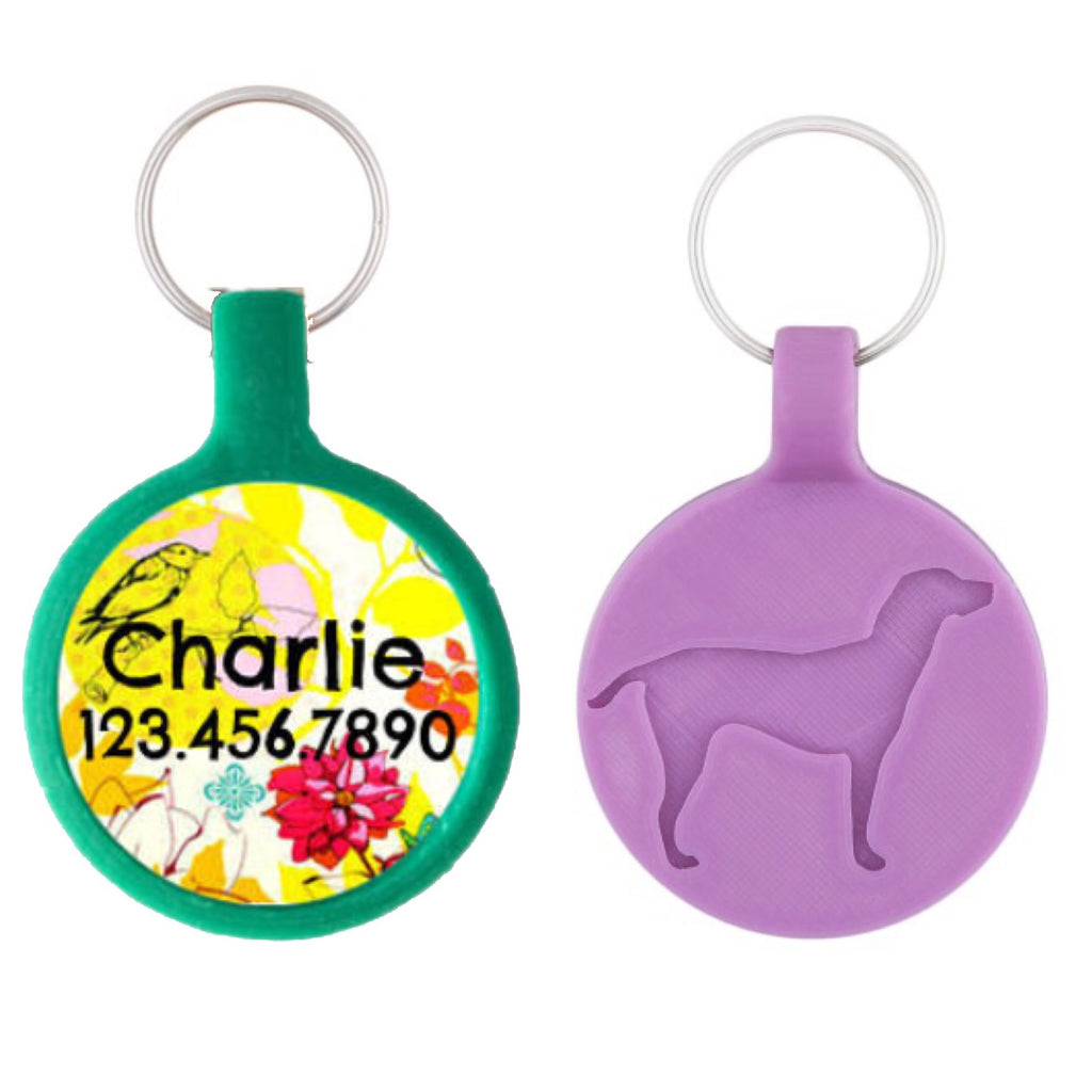 Yellow Bird Floral Ecoplastic Pet ID Tag- Choose from many colors.-Sofa City Sweethearts-Sofa City Sweethearts