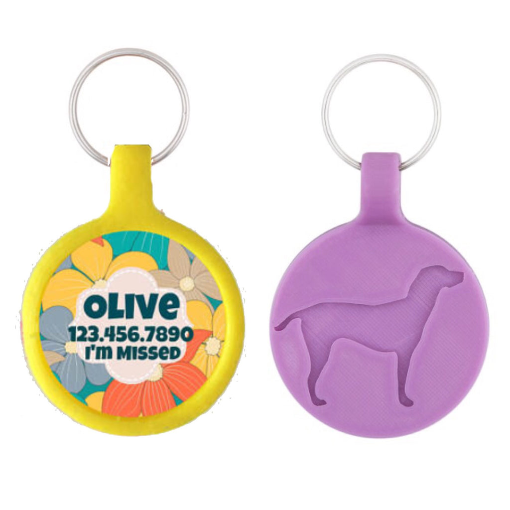 Summer Tropical Floral Ecoplastic Pet ID Tag- Choose from many colors.-Sofa City Sweethearts-Sofa City Sweethearts