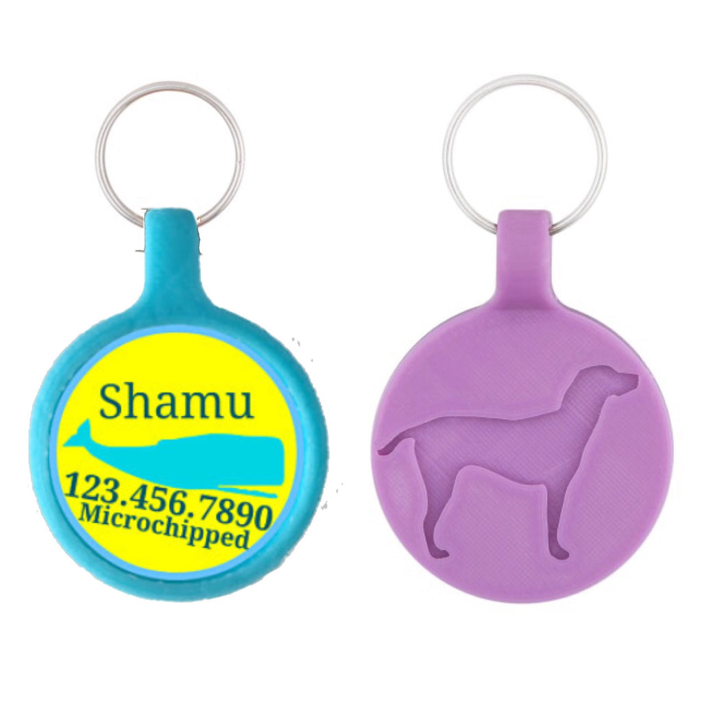 Yellow & Blue Whale Ecoplastic Pet ID Tag- Choose from many colors.-Sofa City Sweethearts-Sofa City Sweethearts