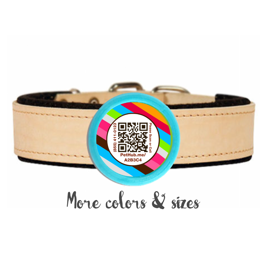 Rainbow Stripes QR Scannable Twist Tag- SILENT, ECO-FRIENDLY, RINGLESS ID TAG FOR CATS AND DOGS-Sofa City Sweethearts-Sofa City Sweethearts