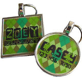 Green Argyle Pet ID Tag-Sofa City Sweethearts-Sofa City Sweethearts