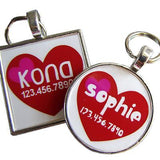 Pink and Red Hearts Custom Pet ID Tag-Sofa City Sweethearts-Sofa City Sweethearts