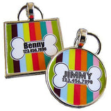 Carnival Stripes with Bone Pet ID Tag - Sofa City Sweethearts  - 2