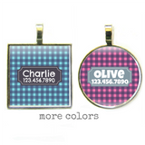 Gingham Plaid Pet ID Tag- More Colors-Sofa City Sweethearts-Sofa City Sweethearts
