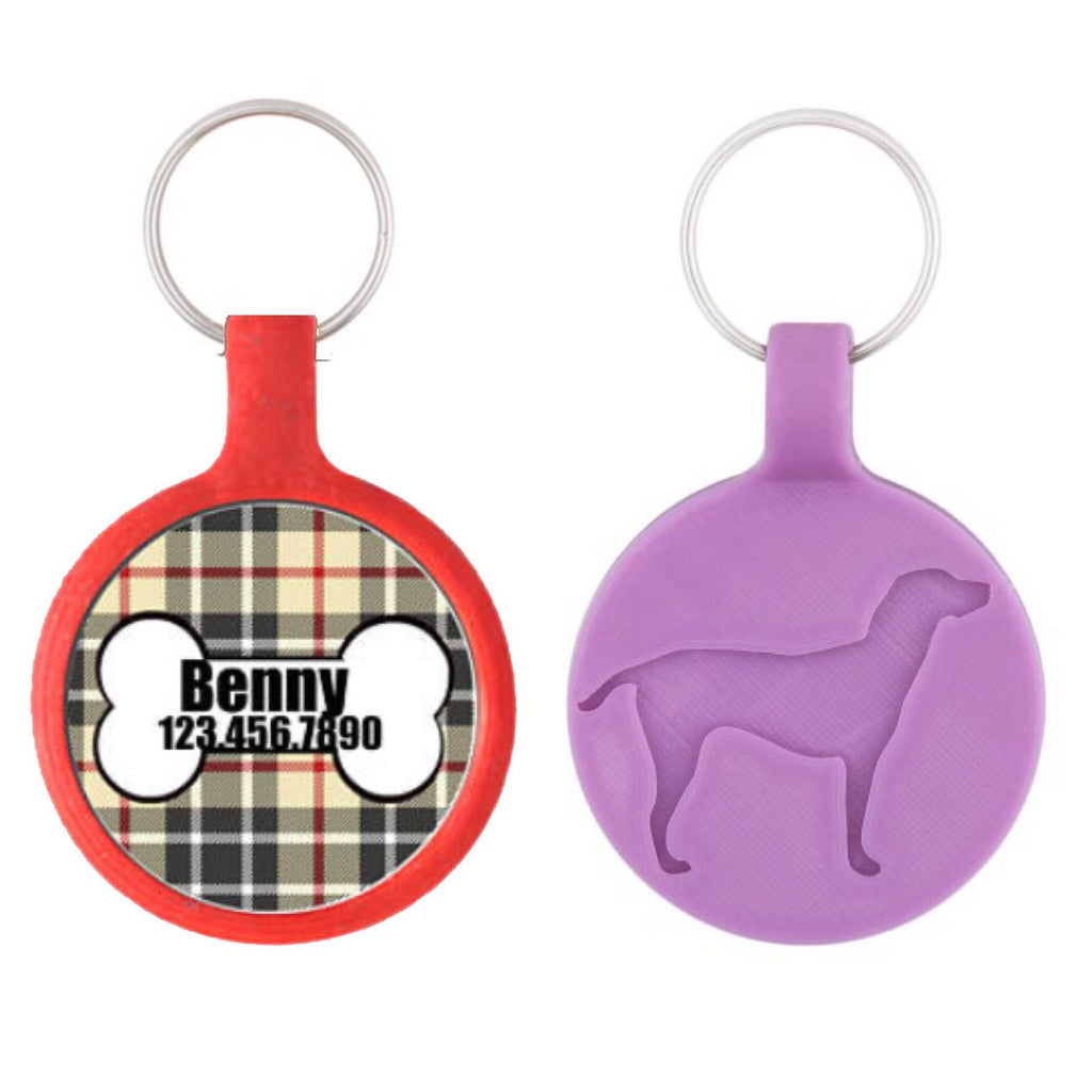 Dog Bone with Plaid Personalized Dog ID Pet Tag Custom Pet Tag You Choose Tag Size & Colors-Sofa City Sweethearts-Sofa City Sweethearts