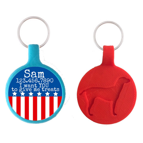 American Flag Patriotic  Personalized Dog ID Pet Tag- Choose Tag Size & Colors