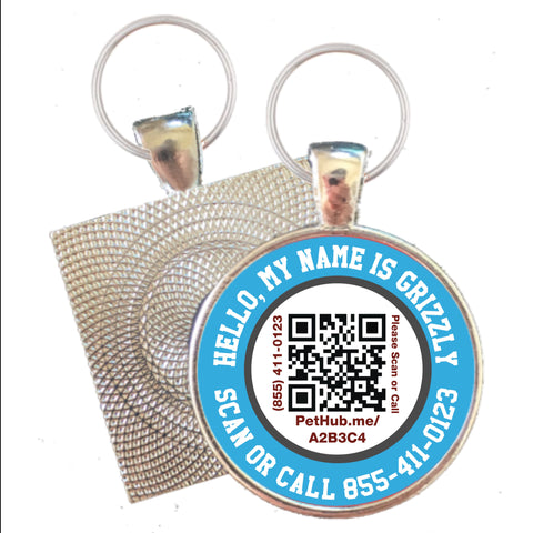 HELLO My Name Is Scannable QR Silver ID Tag for Cats and Dogs- Free Online Pet Profile