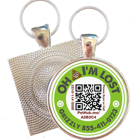 Oh Sh*t I'm Lost Silver QR Code Pet ID Tag, for Cats & Dogs, Powered by Pethub
