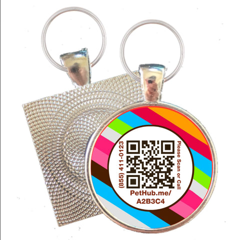 Rainbow Print Scannable QR Silver ID Tag for Cats and Dogs-FREE Online Pet Profile