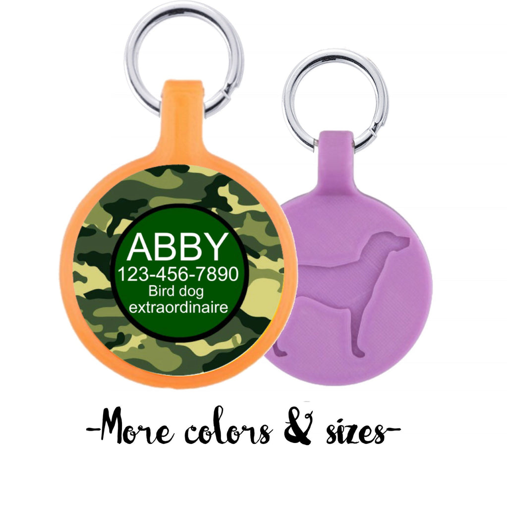 Camouflage Personalized Dog ID Pet Tag Custom Pet Tag You Choose Tag Size & Colors-Sofa City Sweethearts-Sofa City Sweethearts