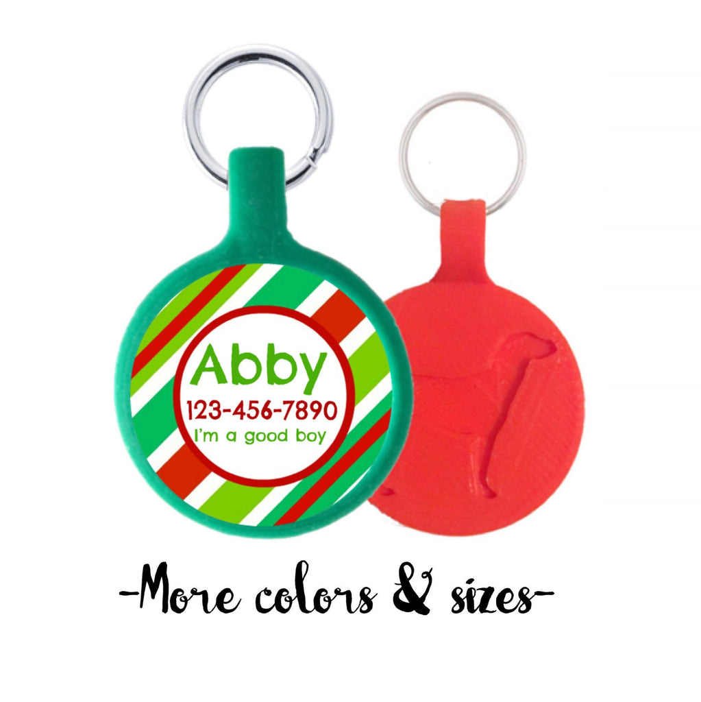 Holiday Stripes Silver Personalized Dog ID Pet Tag Choose Tag Size & Colors-Sofa City Sweethearts-Sofa City Sweethearts