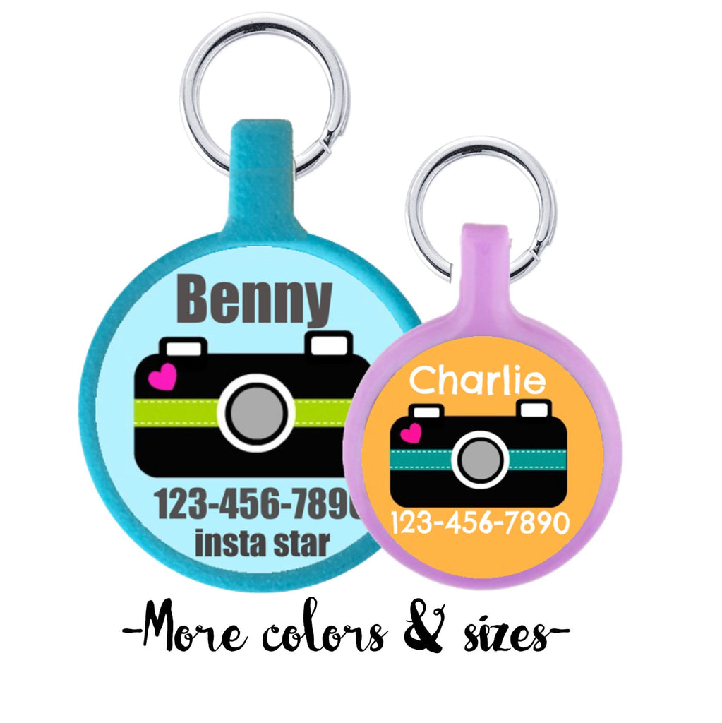 Cute Camera Personalized Dog ID Pet Tag Custom Pet Tag You Choose Tag Size & Colors- 9 Colors Available - Sofa City Sweethearts