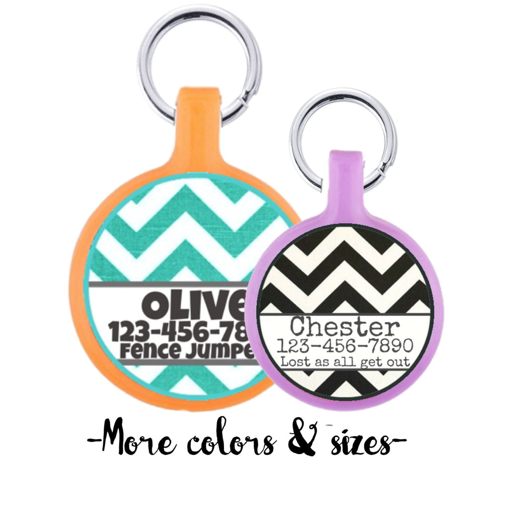 Mod Chevron Stripes Personalized Dog ID Pet Tag Custom Pet Tag You Choose Tag Size & Colors-Sofa City Sweethearts-Sofa City Sweethearts