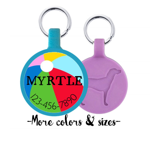 Beach Ball Summer Personalized Dog ID Pet Tag Custom Pet Tag You Choose Tag Size & Colors
