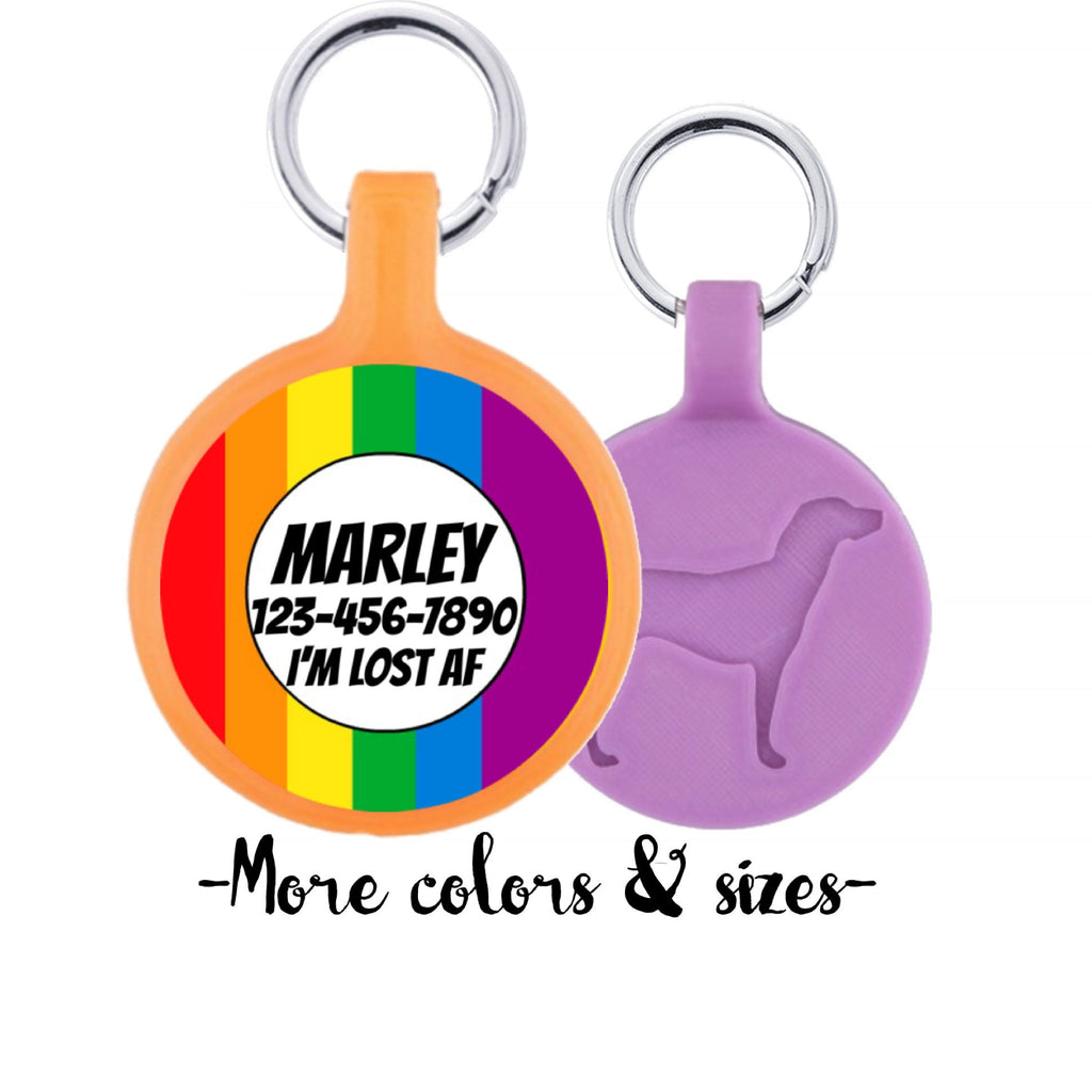 Rainbow Personalized Dog ID Pet Tag Custom Pet Tag You Choose Tag Size & Colors-Sofa City Sweethearts-Sofa City Sweethearts