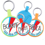 Bowie Ziggy Stardust-inspired Design Personalized Dog ID Pet Tag Custom Pet Tag You Choose Tag Size & Colors-Sofa City Sweethearts-Sofa City Sweethearts