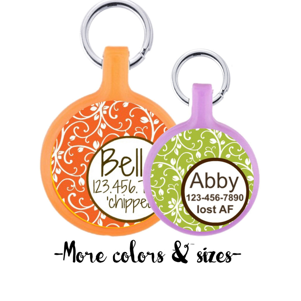 Garden Party Custom Personalized Dog ID Pet Tag Custom Pet Tag You Choose Tag Size & Colors- Orange or Green - Sofa City Sweethearts