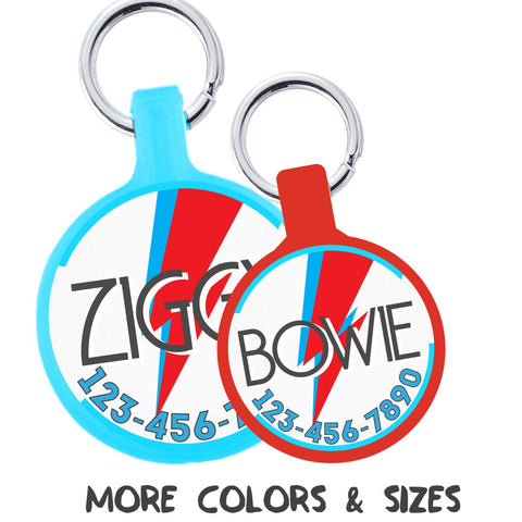 Bowie Ziggy Stardust Personalized Dog ID Pet Tag -Choose Size & Colors