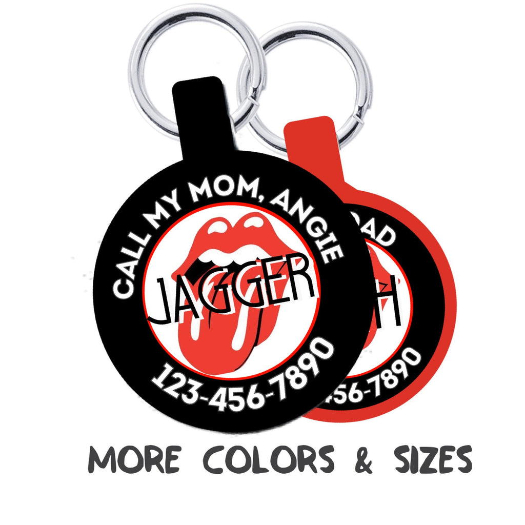 Rolling Stones-inspired Design Personalized Dog ID Pet Tag Custom Pet Tag You Choose Tag Size & Colors-Sofa City Sweethearts-Sofa City Sweethearts