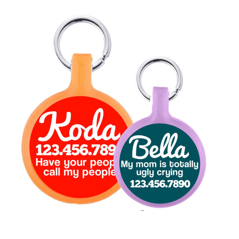 Solid Color Tag, Cursive Text Pet ID Tag. More Colors & Sizes!