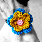 2 Color Crochet Dog Collar Flower- MORE COLORS-Sofa City Sweethearts-Sofa City Sweethearts