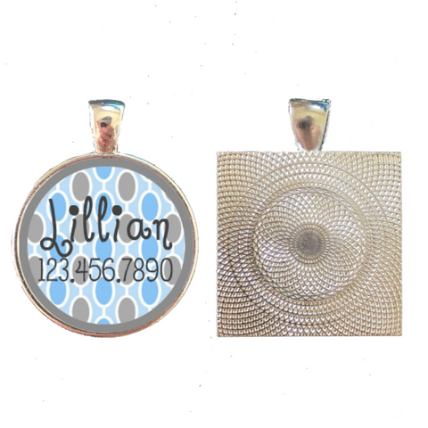 Retro Blue Dots Pet ID Tag