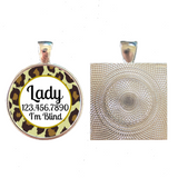 Leopard Print Custom Pet ID Tag-Brown or Teal-Sofa City Sweethearts-Sofa City Sweethearts
