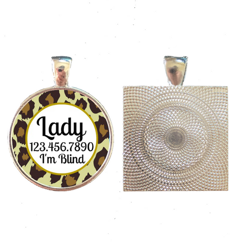 Leopard Print Custom Pet ID Tag-Brown or Teal