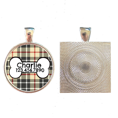 Plaid with Dog Bone Pet ID Tag