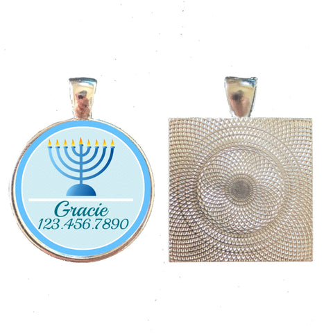Hanukkah Menorah Pet ID Tag