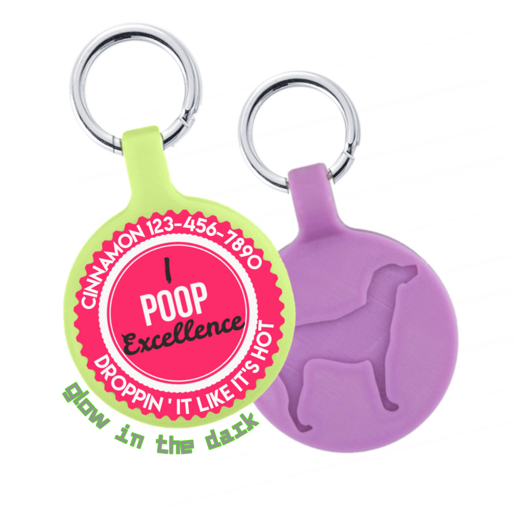 I Poop Excellence Eco-Friendly Pet ID Tag- Choose from many colors.-Sofa City Sweethearts-Sofa City Sweethearts