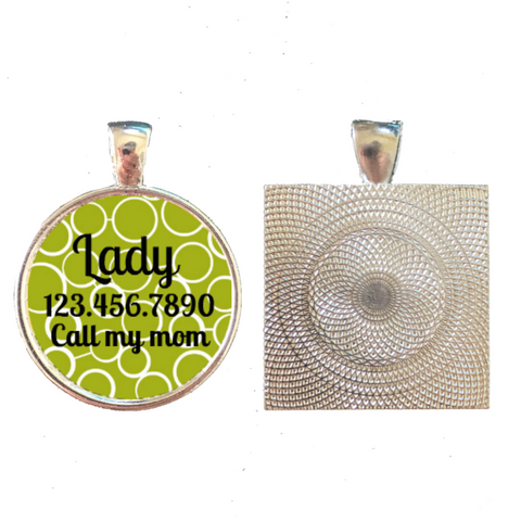 Modern Green Circles Pet ID Tag