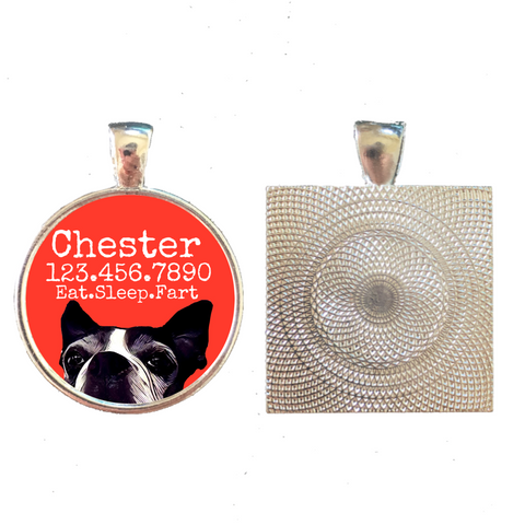 Boston Terrier Personalized Dog ID Pet Tag Custom Pet Tag You Choose Tag Size & Colors