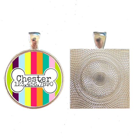 Carnival Stripes with Bone Pet ID Tag