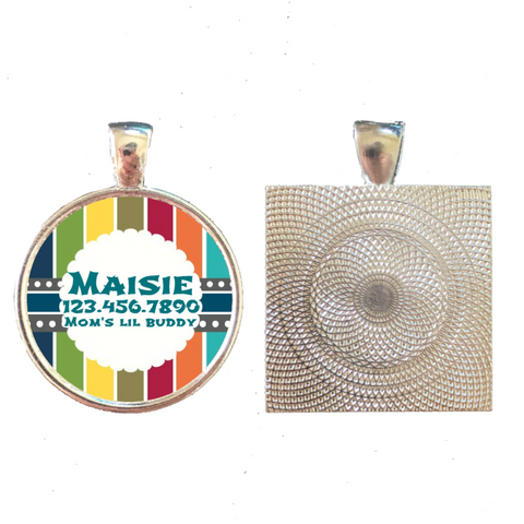 Nautical Stripes Pet ID Tag