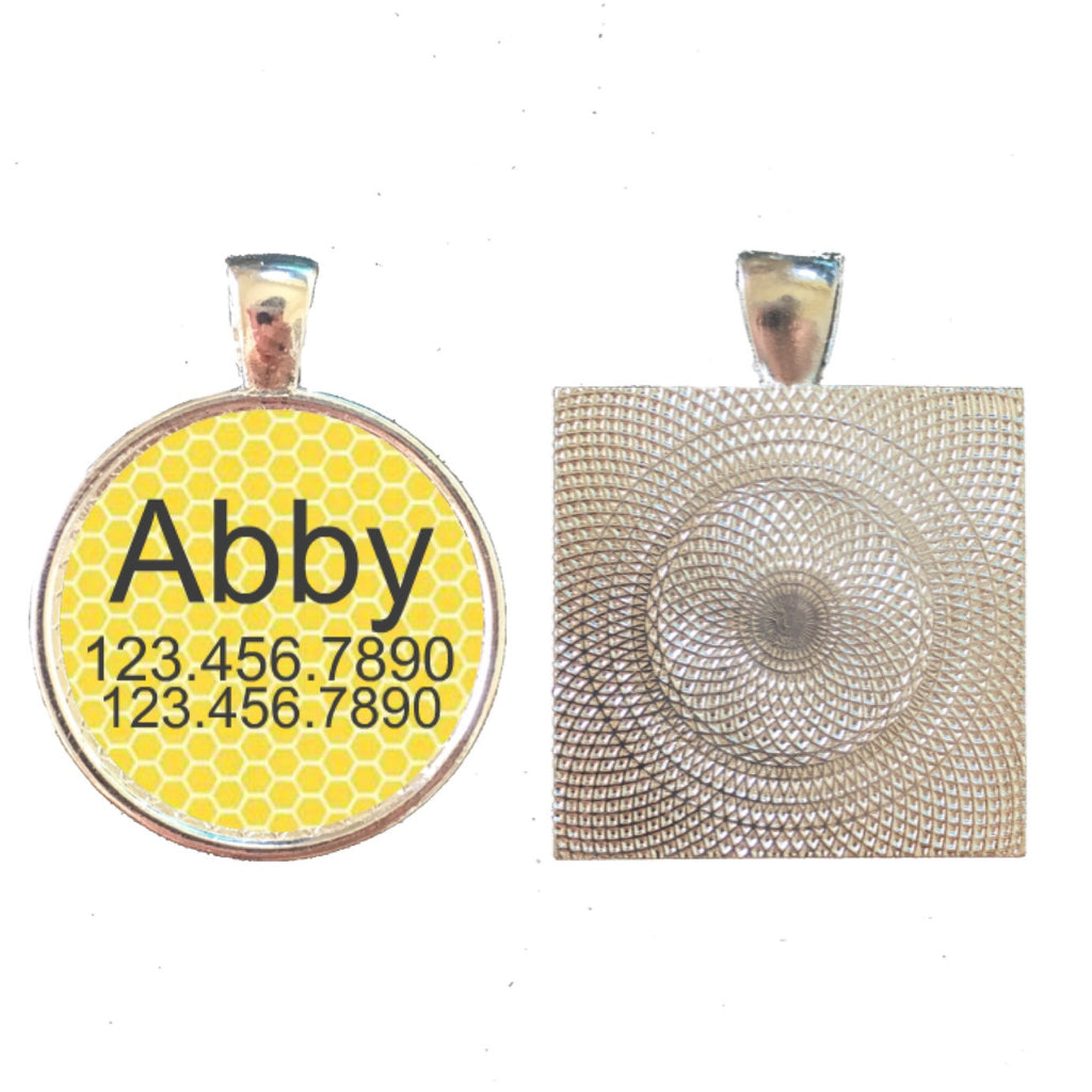 Yellow Honeycomb Pet ID Tag-Sofa City Sweethearts-Sofa City Sweethearts