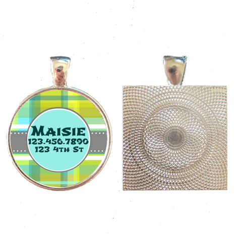 Blue and Green Plaid Graphic Pet ID Tag