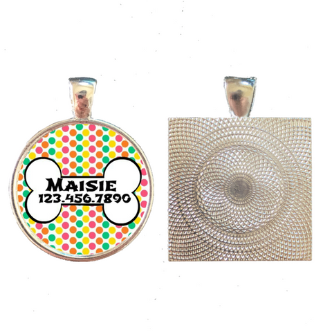 Retro Dots with Dog Bone Pet ID Tag